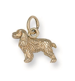 9ct Yellow Gold Cocker Spaniel Pendant - Queen of Silver