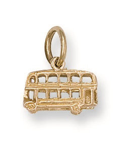 9ct Yellow Gold Bus Charm Pendant - Queen of Silver