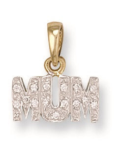9ct Yellow Gold No. Cz Mum Pendant - Queen of Silver
