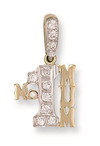 9ct Yellow Gold Cz No:1 Mum Pendant - Queen of Silver