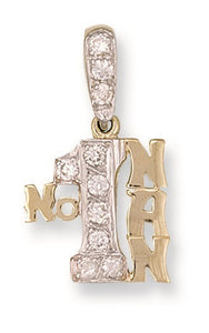9ct Yellow Gold Cz No:1 Nan Pendant - Queen of Silver