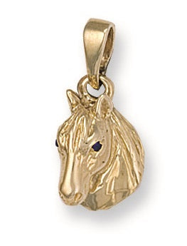 9ct Yellow Gold Cz Horse Head Pendant - Queen of Silver