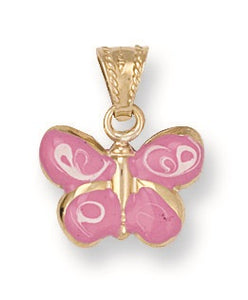 9ct Yellow Gold Enameled Butterfly Pendant - Queen of Silver