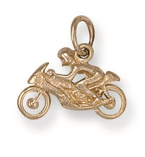 9ct Yellow Gold Motorbike Pendant - Queen of Silver