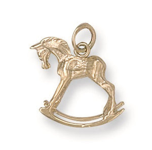 9ct Yellow Gold Rocking Horse Pendant - Queen of Silver