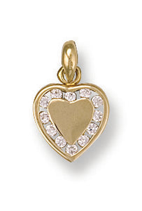 9ct Yellow Gold Cz Heart Pendant - Queen of Silver