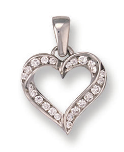 9ct White Gold Cz Heart Pendant - Queen of Silver