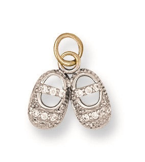 9ct Yellow Gold Cz Baby Shoe Pendant - Queen of Silver