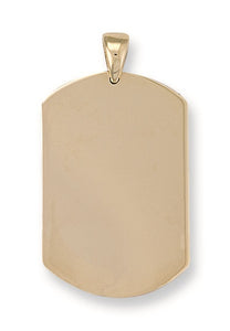 9ct Yellow Gold Dog Tag Pendant - Queen of Silver