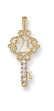9ct Yellow Gold Cz 21st Key Pendant - Queen of Silver