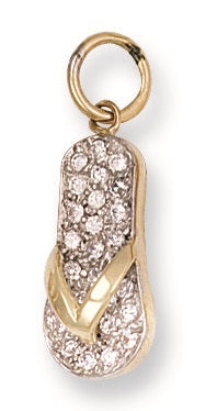 9ct Yellow Gold Cz Filp Flop Pendant - Queen of Silver
