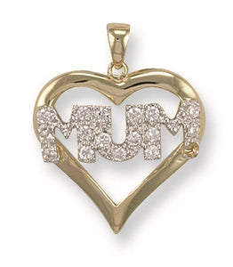 9ct Yellow Gold Cz Heart Mum Pendant - Queen of Silver