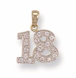 9ct Yellow Gold Cz 18th Pendant - Queen of Silver