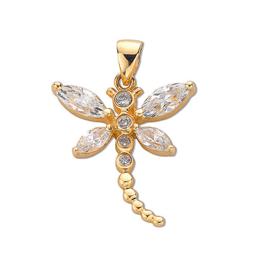 9ct Yellow Gold Cz Dragonfly Pendant - Queen of Silver
