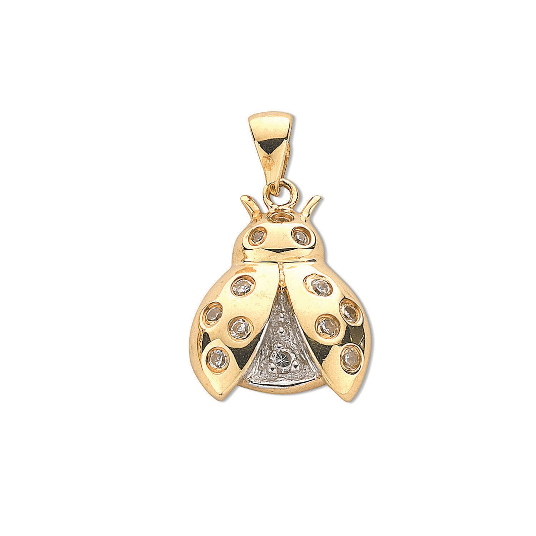 9ct Yellow Gold Cz Ladybird Pendant Pendant - Queen of Silver