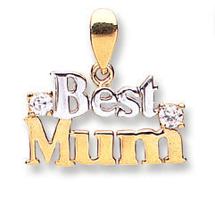 9ct Yellow & White Gold Best Mum Pendant - Queen of Silver