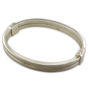 Sterling Silver Hinged Double Bar Bangle
