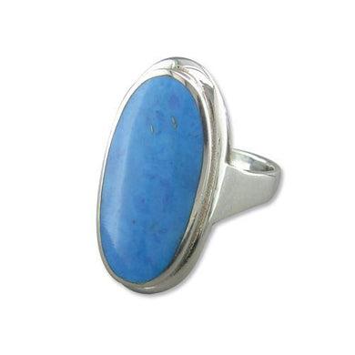 Sterling Silver Extra-Large Synthetic Turquoise Oval Ring