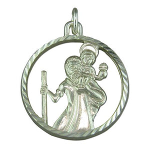 Sterling Silver Diamon Cut Round Cut Out ST Christopher