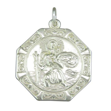 Sterling Silver Medium Octagonal Relief ST Christopher