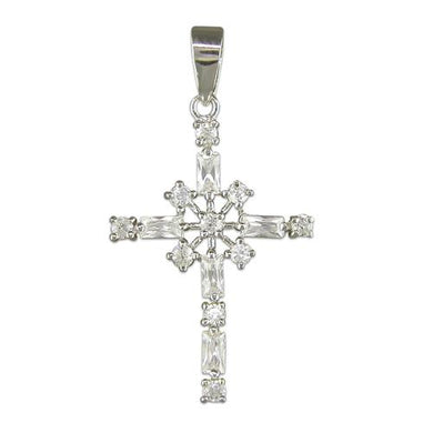 Sterling Silver Fancy white Cubic Zirconia Cross