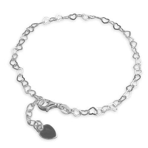 Sterling Silver Small 25cm Open Hearts Anklet