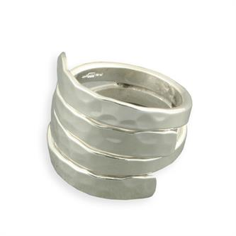 Sterling Silver Double Hammered Overlap Ring