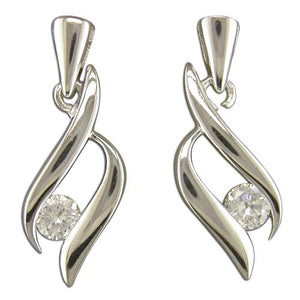 Sterling Silver Cubic Zirconia Between Plain Esses Drop Earring