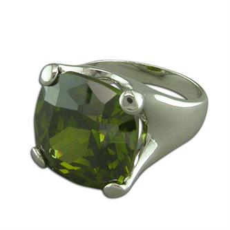 Sterling Silver Large Square Cushion-Shape Olivine-Cubic Zirconia Ring
