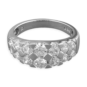 Sterling Silver White Cubic Zirconia Fancy Band Ring