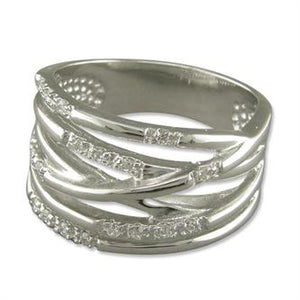 Sterling Silver White Cubic Zirconia Multi-Strand Crossover Band Ring