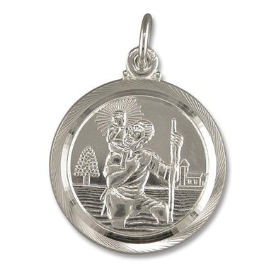 Sterling Silver Medium Double Sided Old Fashioned Travel Design ST Christopher