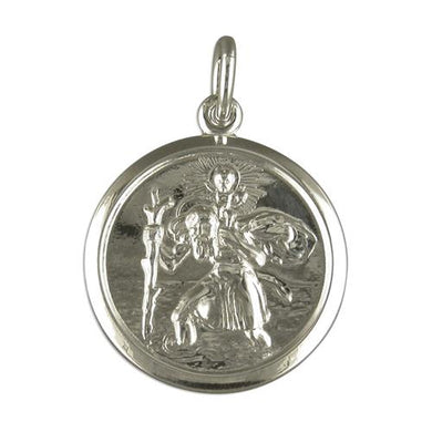 Sterling Silver Round Double Sided with Plain Edge ST Christopher