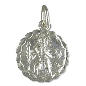 Sterling Silver Round Double Sided with Wavy Edge ST Christopher