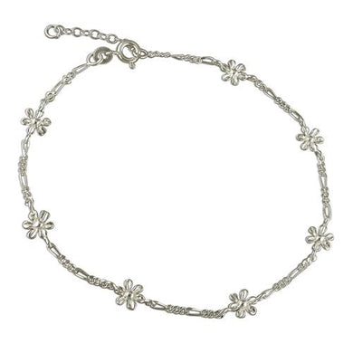 Sterling Silver Figaro 25cm and Flowers (Including Adjuster) Anklet