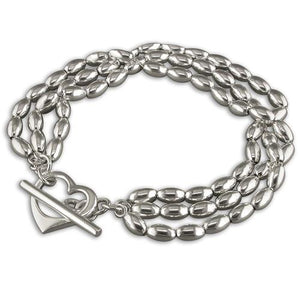 Sterling Silver Triple-Row 19cm Oval Beads with Heart and T-Bar Bracelet