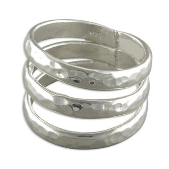 Sterling Silver Triple Beaten Band Ring