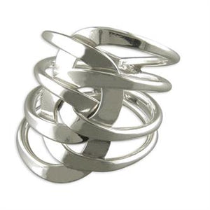 Sterling Silver Plain Layered Interlinked Loops Ring