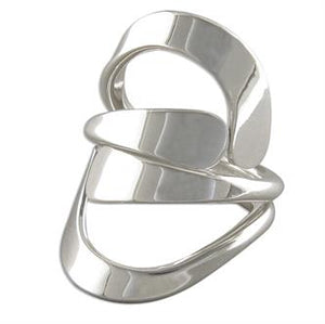 Sterling Silver Plain Cradled Cross-Over Ring