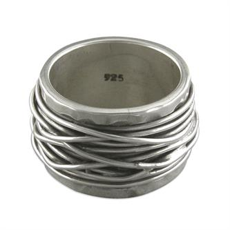 Sterling Silver Heavy Band with Wire Strands Overlay Ring