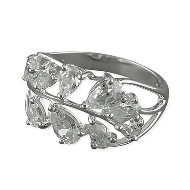 Sterling Silver White Cubic Zirconia Leaf Ring
