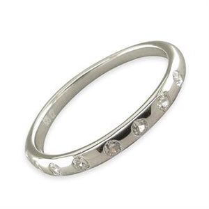 Sterling Silver Cubic Zirconias In Plain Band Ring