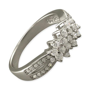 Sterling Silver Triple Cubic Zirconia Clusters with Fancy Cubic Zirconia Shoulders Ring