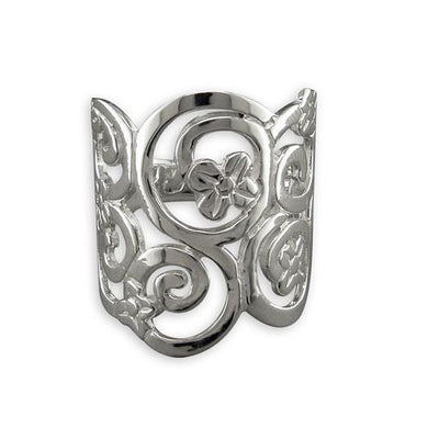 Sterling Silver Flowers and Swirls Ring