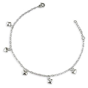 Sterling Silver Oval Trace 23-25cm with Hearts Anklet