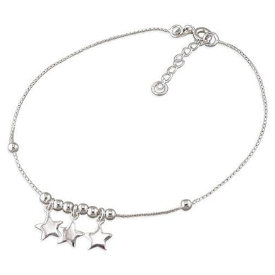 Sterling Silver Stars 22-24cm and Beads Anklet