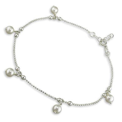 Sterling Silver Simulated 22.5-25cm Pearl Drop Beads Anklet
