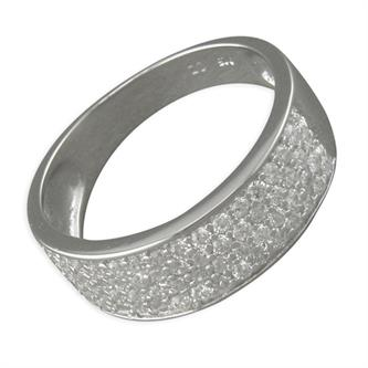 Sterling Silver Cubic Zirconia Pave-Set Medium Band Ring