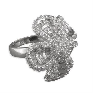 Sterling Silver Large Fancy Cubic Zirconia-Set Flower Cluster Ring