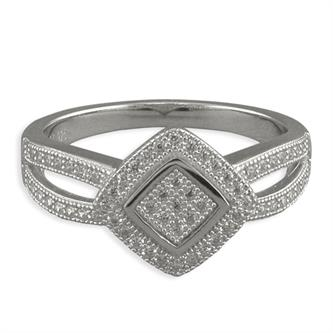 Sterling Silver Micro-Set Cubic Zirconia Tilted Square with Split Shoulder Ring